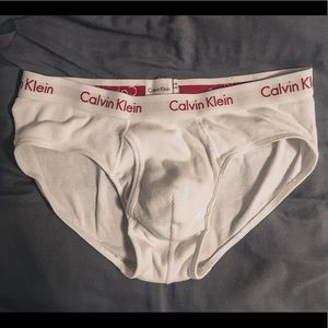 White Calvin Klein Ribbed Brief Medium